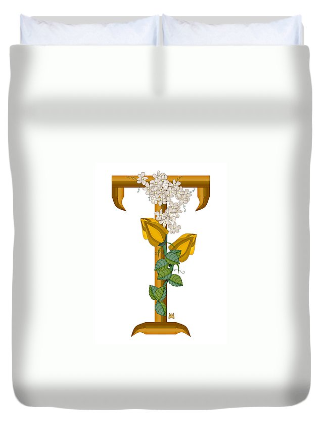 T Duvet Cover featuring the painting T Is For Treasures In Time by Anne Norskog