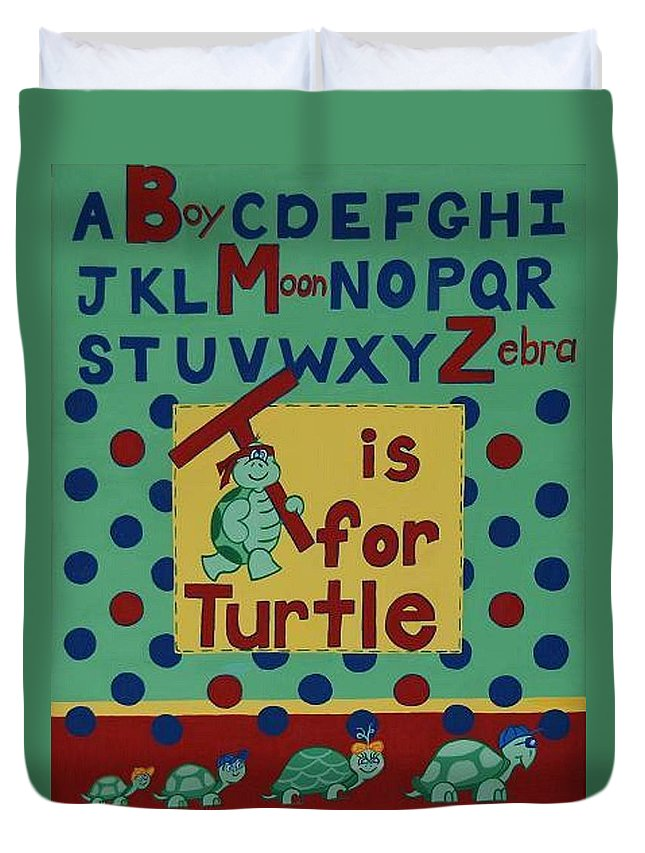 Alphabet Duvet Cover featuring the painting T Is For Turtle by Valerie Carpenter