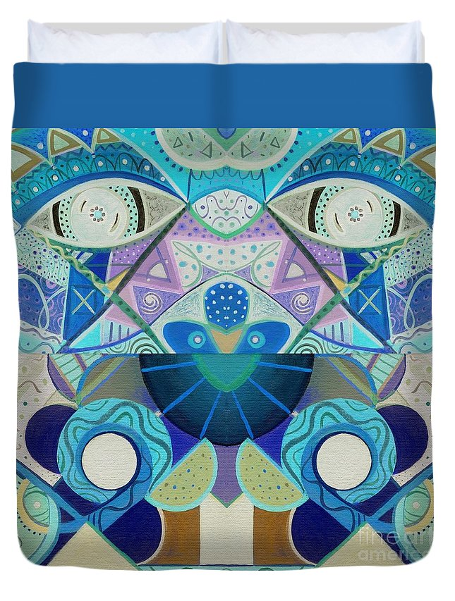 Abstract Duvet Cover featuring the drawing T J O D Tile Variation 3 Inverted by Helena Tiainen