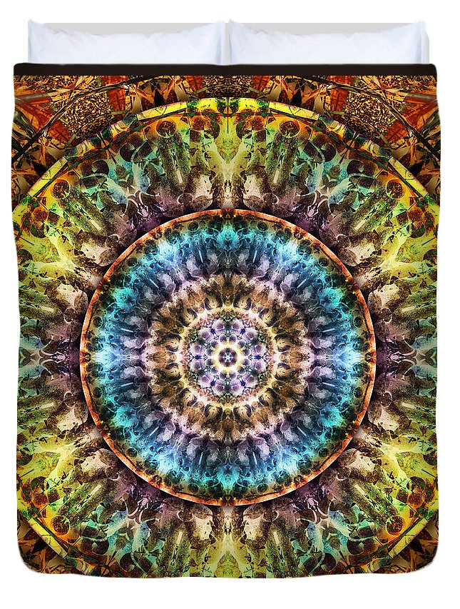 Mandalas From Trash Duvet Cover featuring the digital art Rust Never Sleeps by Becky Titus