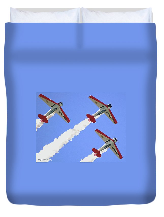 T6 Duvet Cover featuring the digital art T6 Aerobatics by DigiArt Diaries by Vicky B Fuller