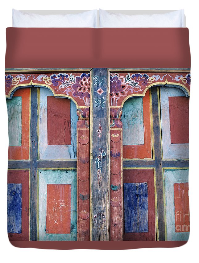 Architectural Duvet Cover featuring the photograph Ta Dzong Museum by Larry Dale Gordon - Printscapes