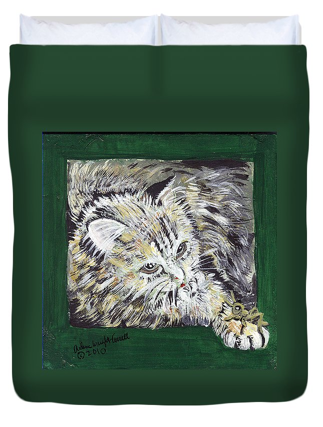 Cat Duvet Cover featuring the mixed media Tabby Cat With Cricket Trinket Box by Arlene Wright-Correll