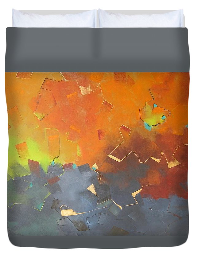 Abstract Duvet Cover featuring the painting Tabernacle 2 by Jeni Bump
