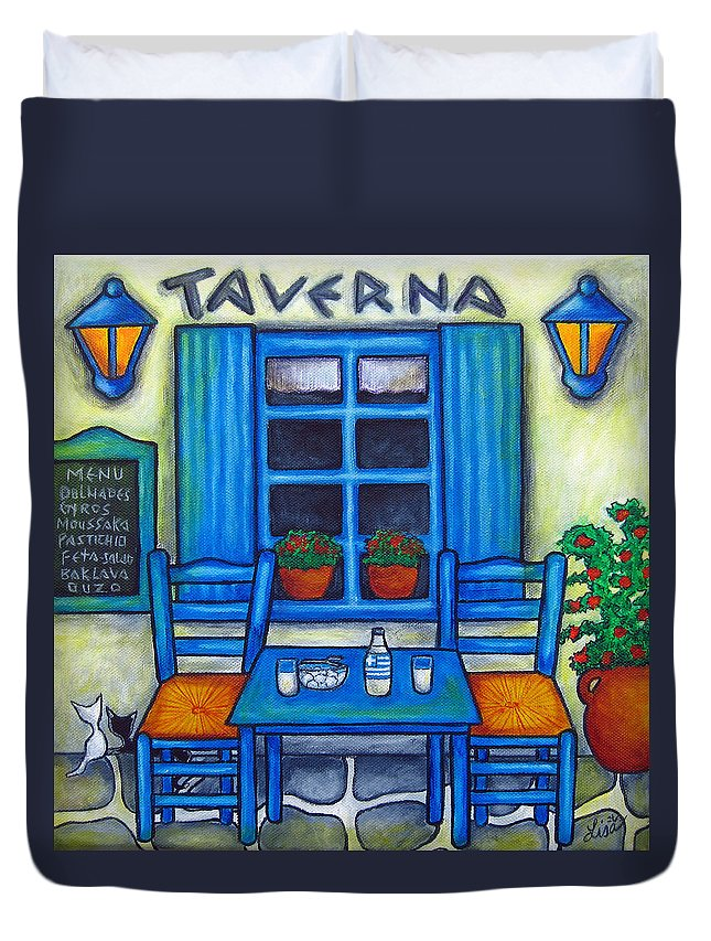 Blues Duvet Cover featuring the painting Table for Two in Greece by Lisa Lorenz