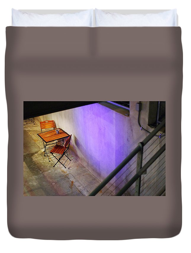Cafe Duvet Cover featuring the photograph Table For Two by Jill Reger