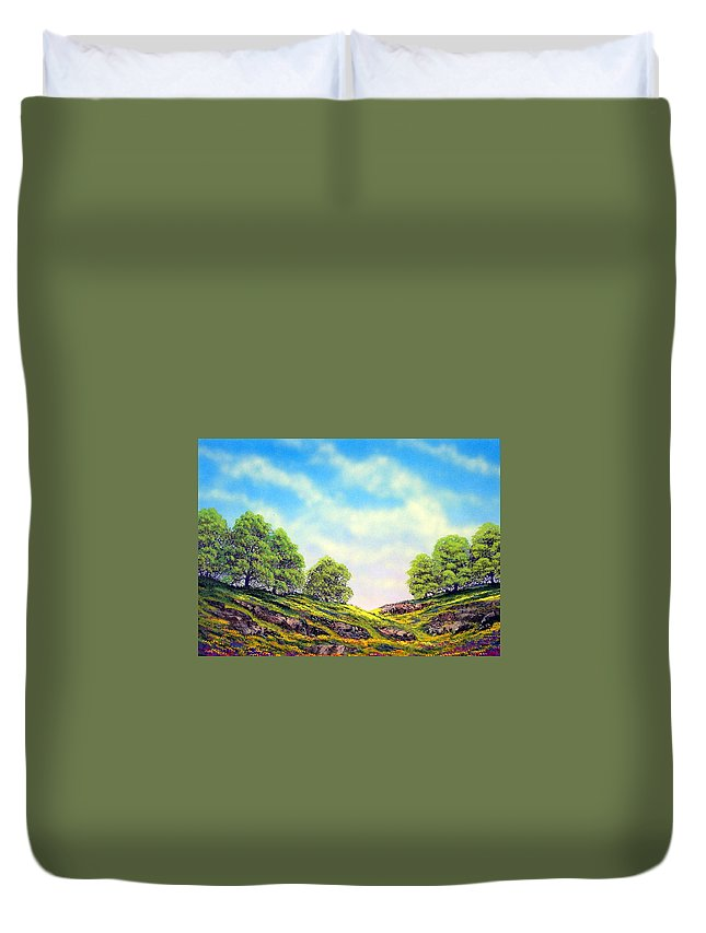 Mountains Duvet Cover featuring the painting Table Mountain by Frank Wilson