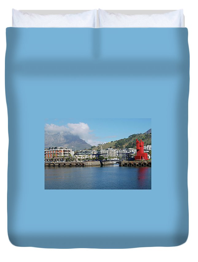 Africa Duvet Cover featuring the photograph Table Mountain From The V And A Waterfront Quays by Harvey Barrison