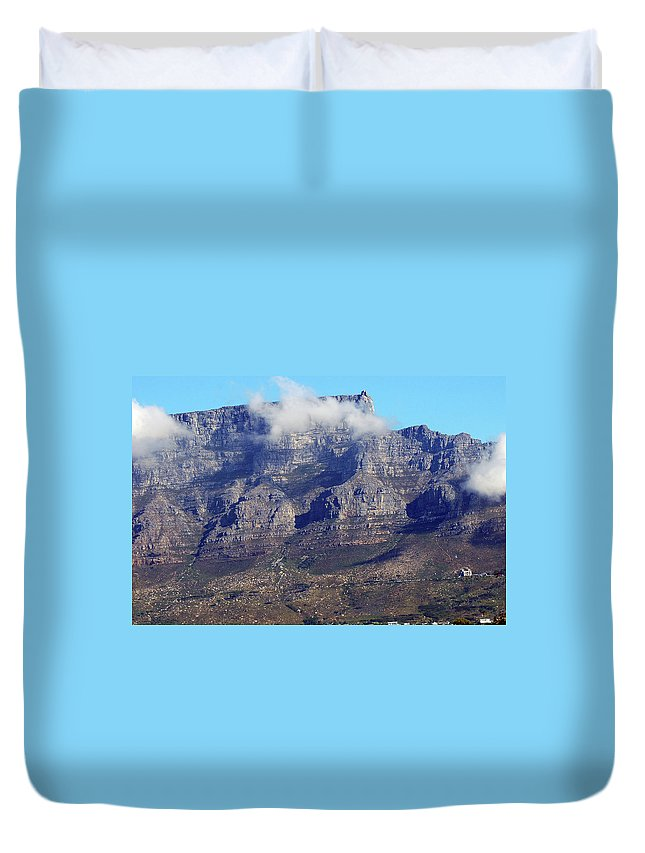 Africa Duvet Cover featuring the photograph Table Mountain In The Clouds by Harvey Barrison