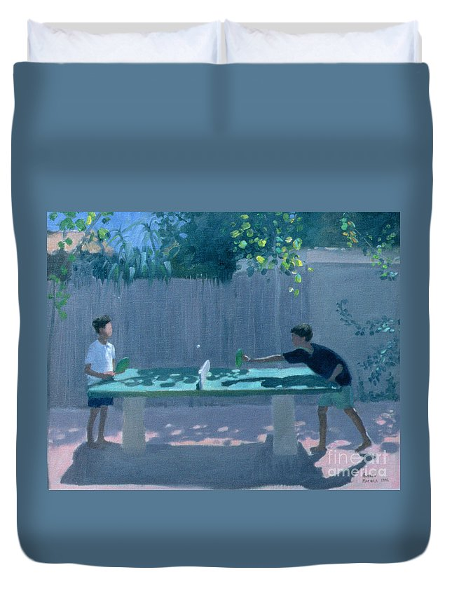 Ping Pong Duvet Cover featuring the painting Table Tennis by Andrew Macara