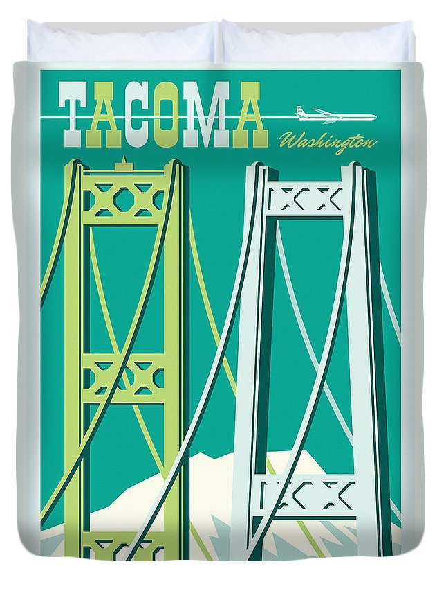 Vintage Duvet Cover featuring the digital art Tacoma Poster - Vintage Style Travel by Jim Zahniser