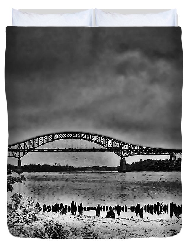 Philadelphia Duvet Cover featuring the photograph Tacony Palmyra Bridge In B And W by Bill Cannon
