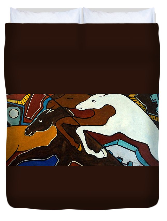 Horse Abstract Duvet Cover featuring the painting Taffy Horses by Valerie Vescovi