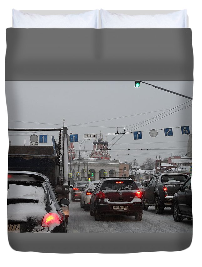 Taganskaya Square Duvet Cover featuring the photograph Taganskaya Square In Snow by James Hanemaayer
