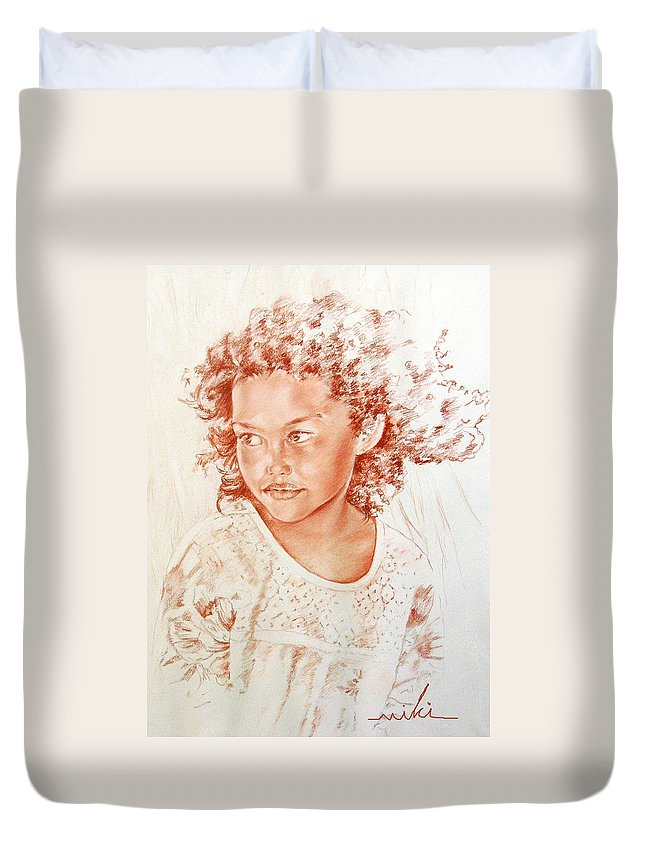 Drawing Persons Duvet Cover featuring the painting Tahitian Girl by Miki De Goodaboom