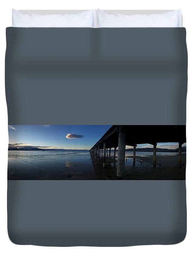 Lakes Duvet Cover featuring the photograph Tahoe Pier by Christina McNee-Geiger