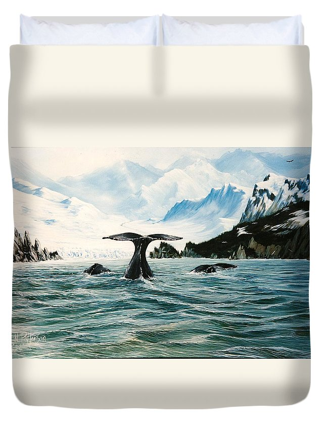 Whales Duvet Cover featuring the painting Tailing Whales Prince William Sound by Bob Patterson
