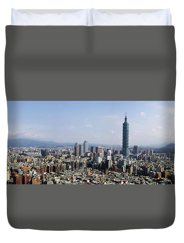 Taipei One Duvet Cover featuring the photograph Taipei, Taiwan by Photopoint Art