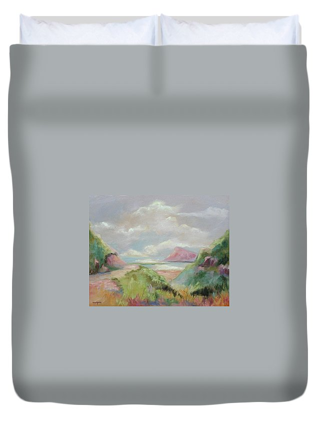Seascape Duvet Cover featuring the painting Taiwan Inlet by Ginger Concepcion