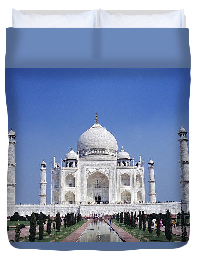 Agra Duvet Cover featuring the photograph Taj Mahal Landscape by Gloria & Richard Maschmeyer - Printscapes
