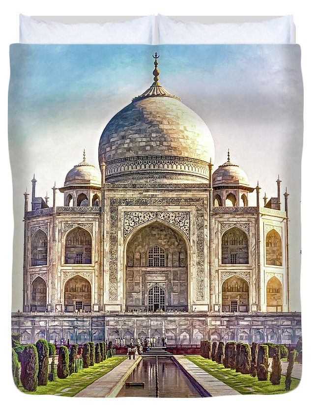 Architecture Duvet Cover featuring the photograph Taj Mahal - Paint by Steve Harrington