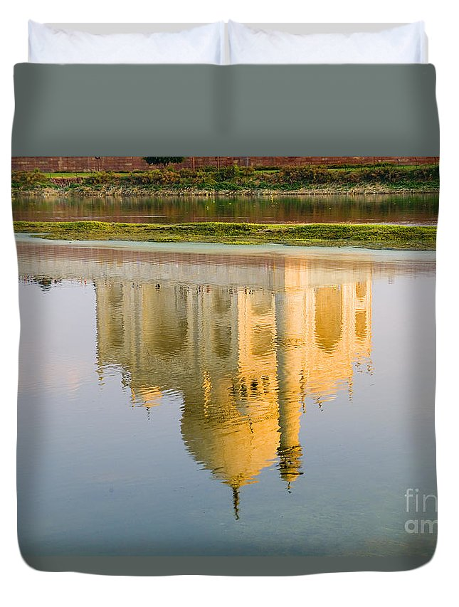 Architecture Duvet Cover featuring the photograph Taj Mahal Reflection by Bill Bachmann - Printscapes