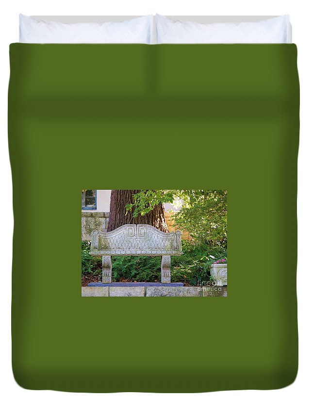 Bench Duvet Cover featuring the photograph Take A Break by Debbi Granruth