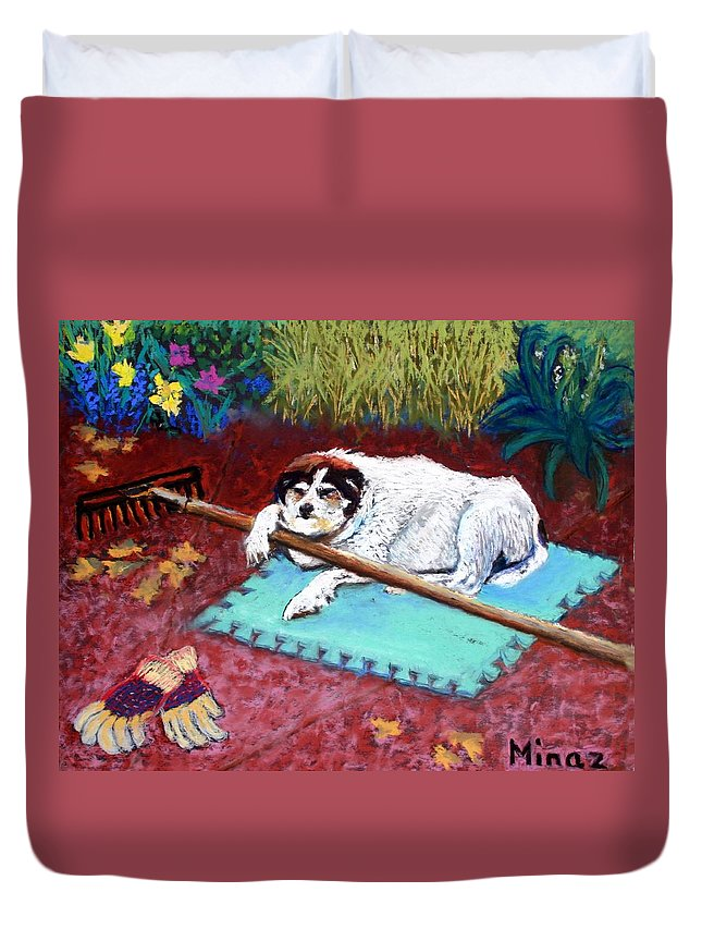 Dog Duvet Cover featuring the painting Take A Break by Minaz Jantz