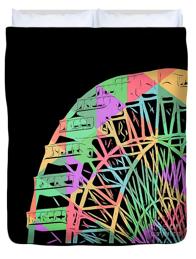 Wonder Wheel Duvet Cover featuring the painting Take A Ride On The Ferris Wheel by Edward Fielding