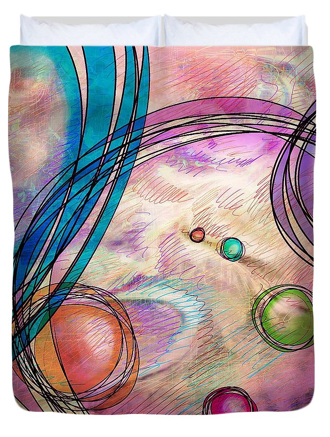 Abstract Duvet Cover featuring the digital art Take A Right Up Here by Rachel Christine Nowicki