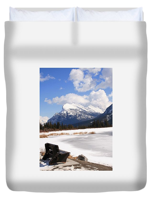 Vermillion Lake Duvet Cover featuring the photograph Take A Seat At Vermillion Lake by Tiffany Vest