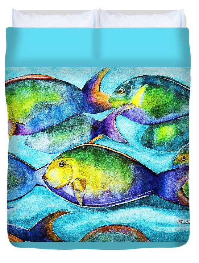 Fish Duvet Cover featuring the painting Take Care Of The Fish by Barbara McMahon