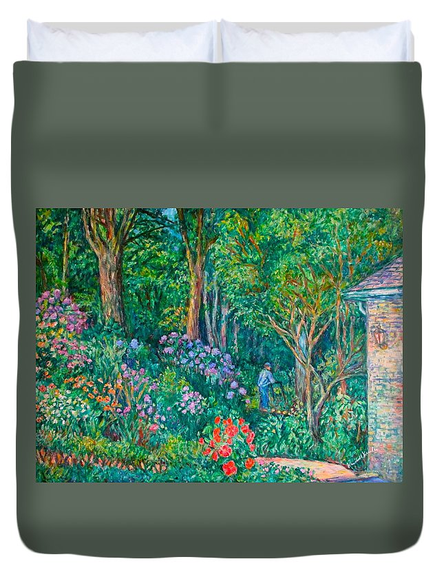 Suburban Paintings Duvet Cover featuring the painting Taking A Break by Kendall Kessler