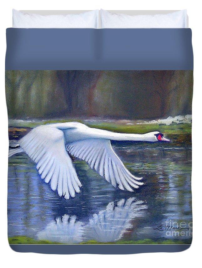 Still Life Duvet Cover featuring the painting Taking Flight by Sue La Marr Kramer