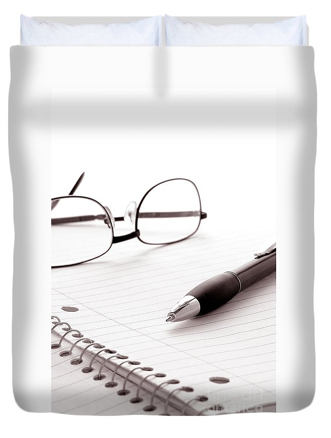 Writing Duvet Cover featuring the photograph Taking Notes by Olivier Le Queinec