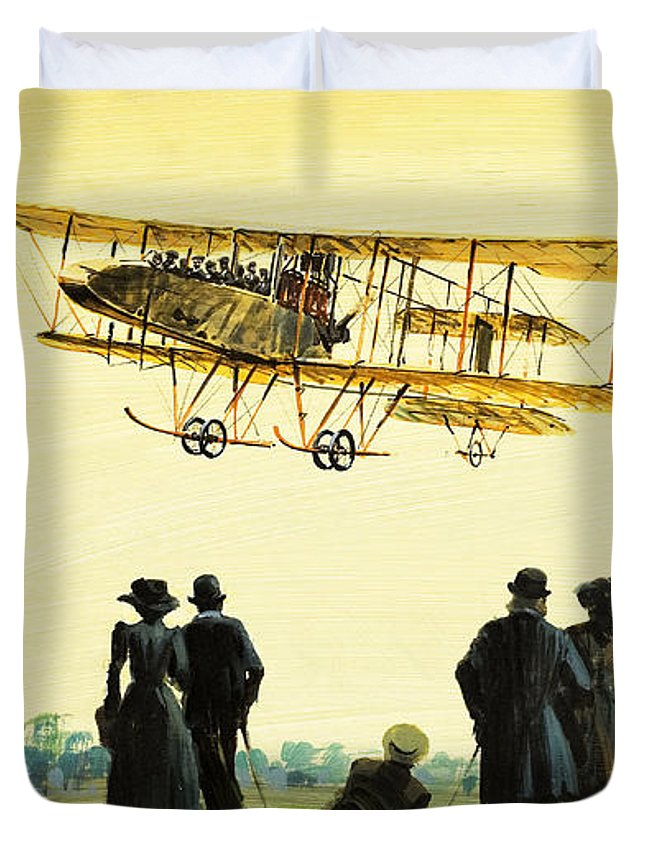 Pilot Duvet Cover featuring the painting Taking Off by Graham Coton