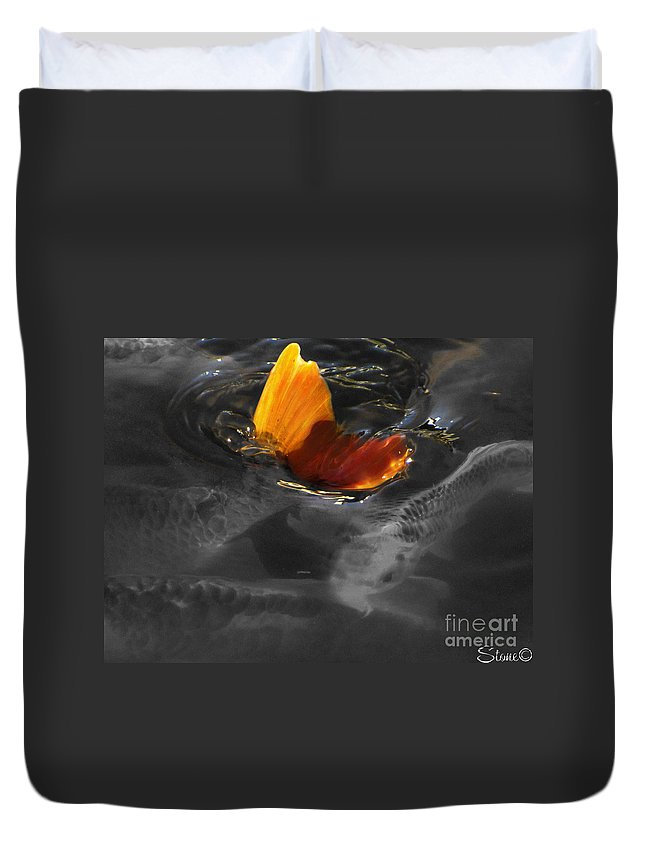 Black Duvet Cover featuring the photograph Tale Of The Wild Koi 3 by September Stone