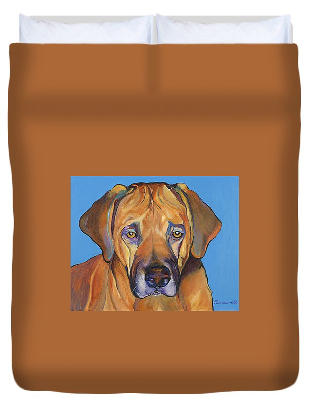 Rhodesian Ridgeback Dog Ridgeback African Colorful Orange Gold Yellow Red Duvet Cover featuring the painting Talen by Pat Saunders-White