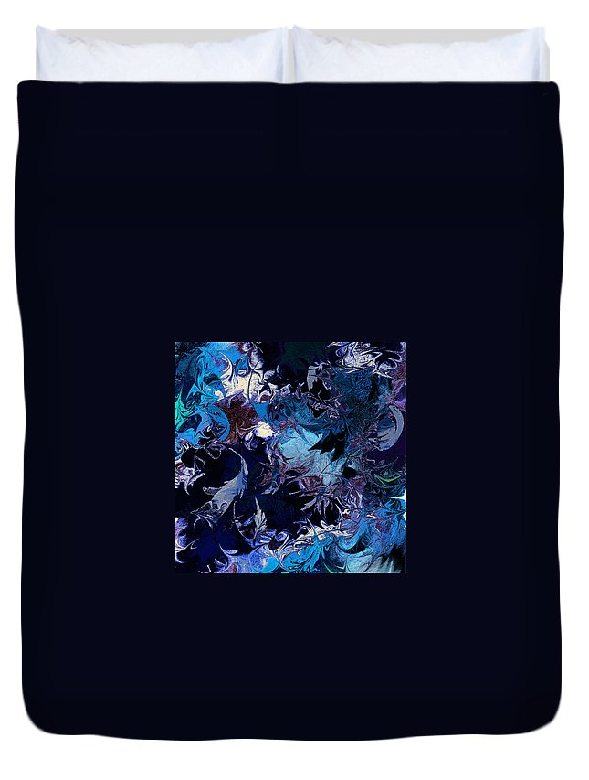Abstract Duvet Cover featuring the digital art Tales In A Moonlit Wood by Rachel Christine Nowicki