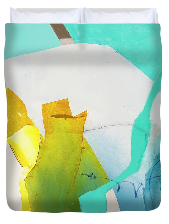 Abstract Duvet Cover featuring the painting Talking To Myself by Claire Desjardins