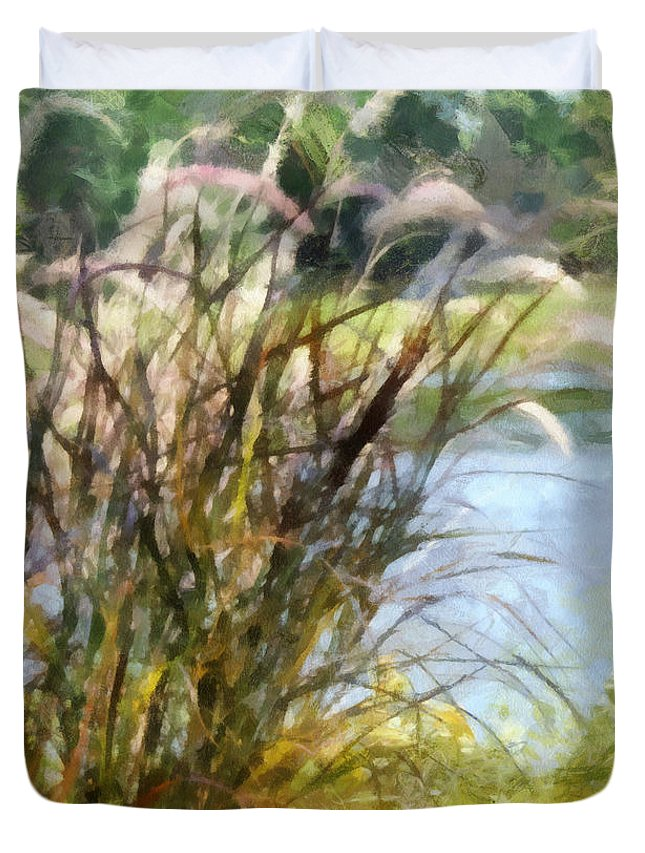 Tall Duvet Cover featuring the photograph Tall Grasses by Paulette B Wright