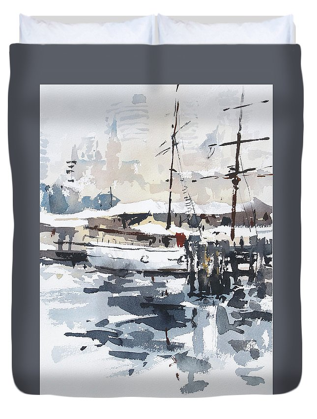 Tallship Duvet Cover featuring the painting Tall Ship In Sydney Harbour by Tony Belobrajdic