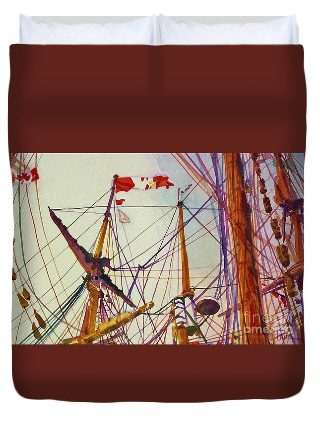 Cynthia Pride Watercolor Paintings Duvet Cover featuring the painting Tall Ship Lines by Cynthia Pride