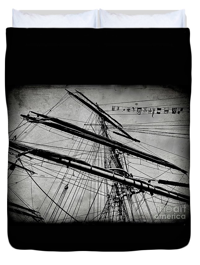 Digital Simulated Vintage Photo Duvet Cover featuring the digital art Tall Ship Mast V3 by Tim Richards