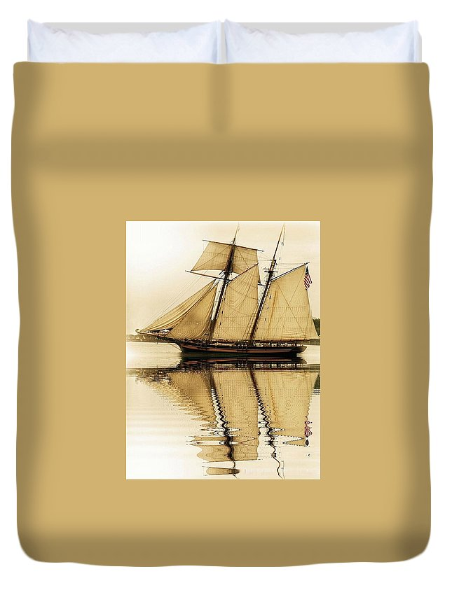 Duvet Cover featuring the photograph Tall Ship Sepia by Valerie Stein