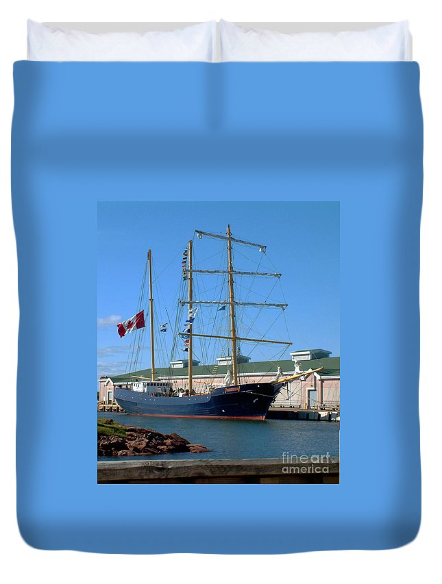 Dock Duvet Cover featuring the photograph Tall Ship Waiting by RC DeWinter