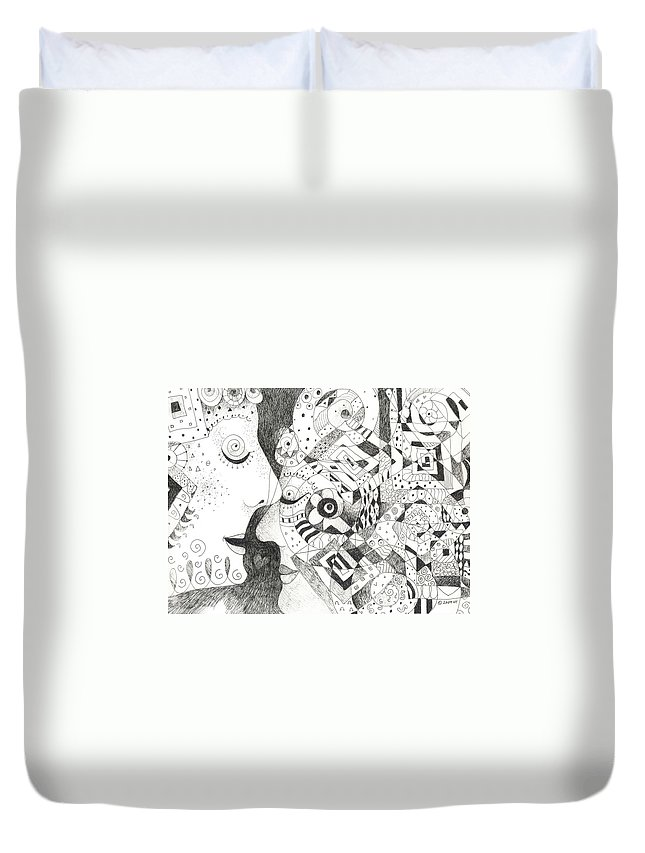 Relationship Duvet Cover featuring the drawing Tall Tales by Helena Tiainen