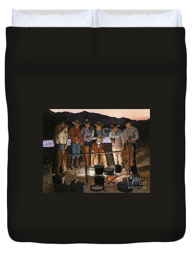 Arizona Duvet Cover featuring the painting Tall Tales by Mary Rogers