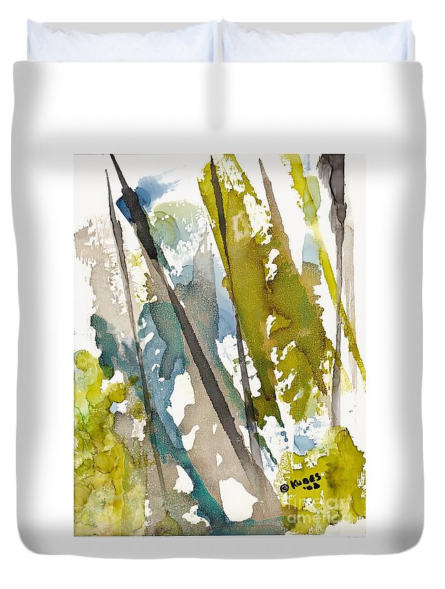 Forest Duvet Cover featuring the painting Tall Timber by Susan Kubes