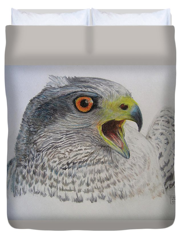 Duvet Cover featuring the drawing Talon by Lucien Van Oosten